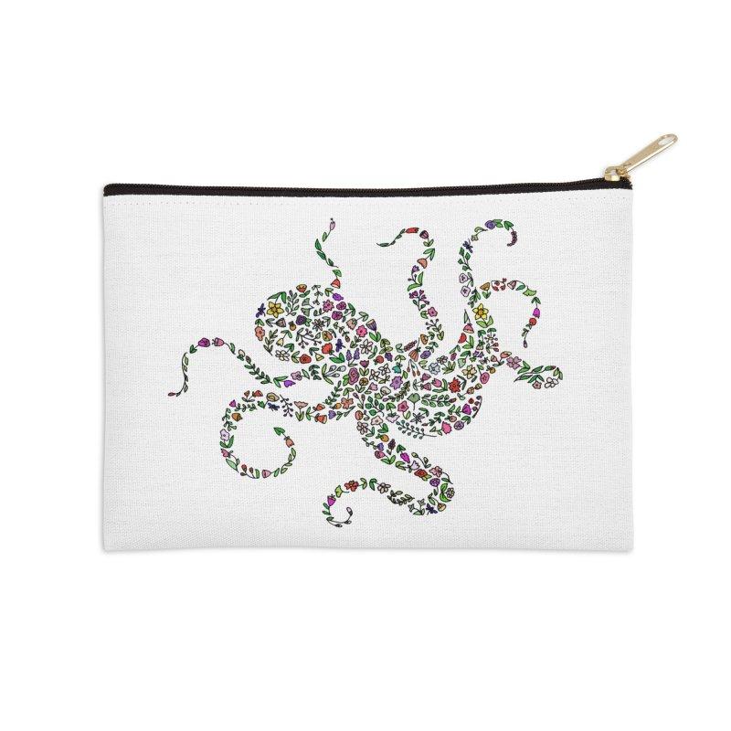 Floral Octopus Accessories Zip Pouch by LadyBaigStudio's Artist Shop