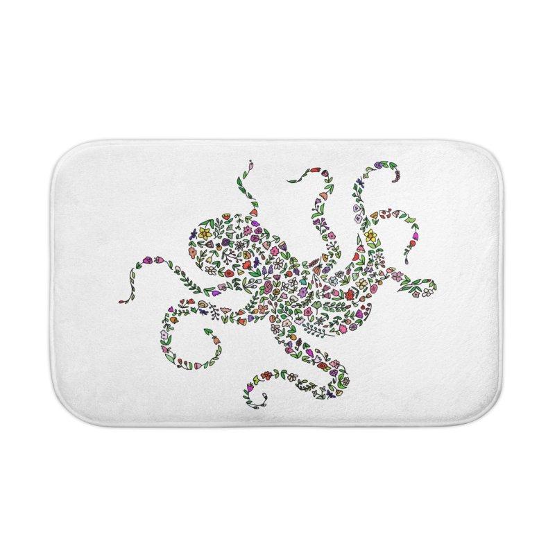 Floral Octopus Home Bath Mat by LadyBaigStudio's Artist Shop