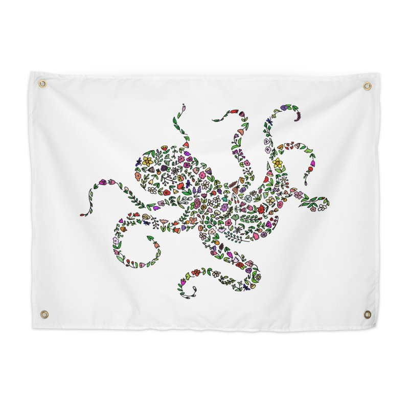 Floral Octopus Home Tapestry by LadyBaigStudio's Artist Shop
