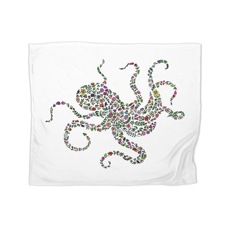 Floral Octopus Home Blanket by LadyBaigStudio's Artist Shop