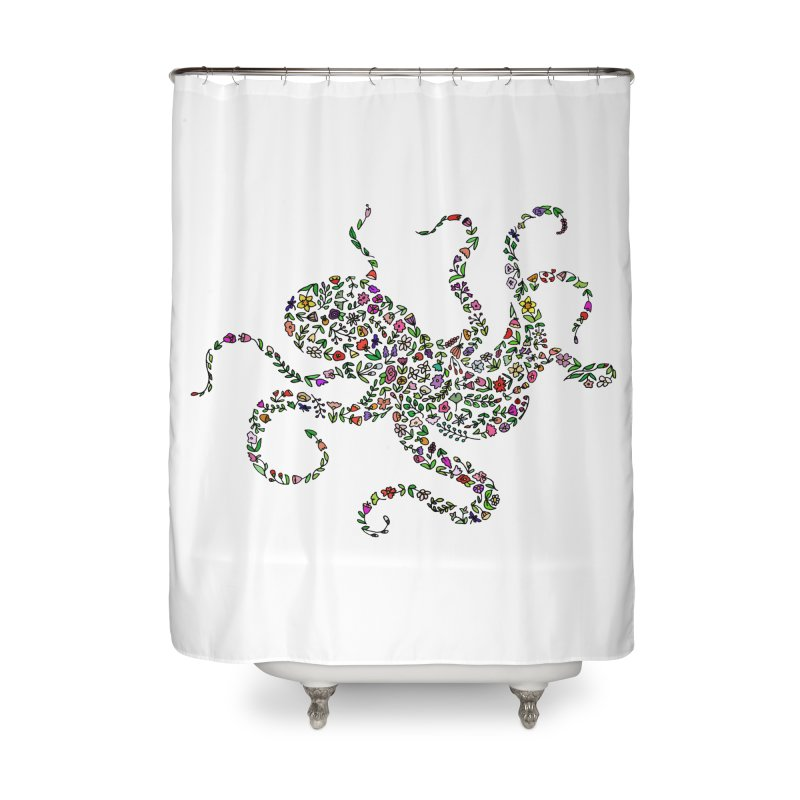 Floral Octopus Home Shower Curtain by LadyBaigStudio's Artist Shop