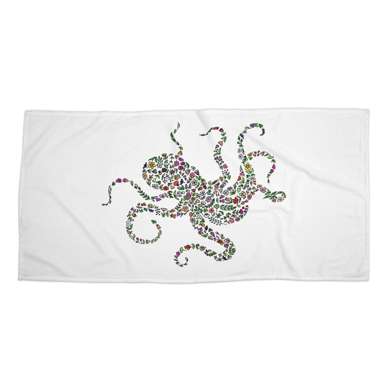 Floral Octopus Accessories Beach Towel by LadyBaigStudio's Artist Shop