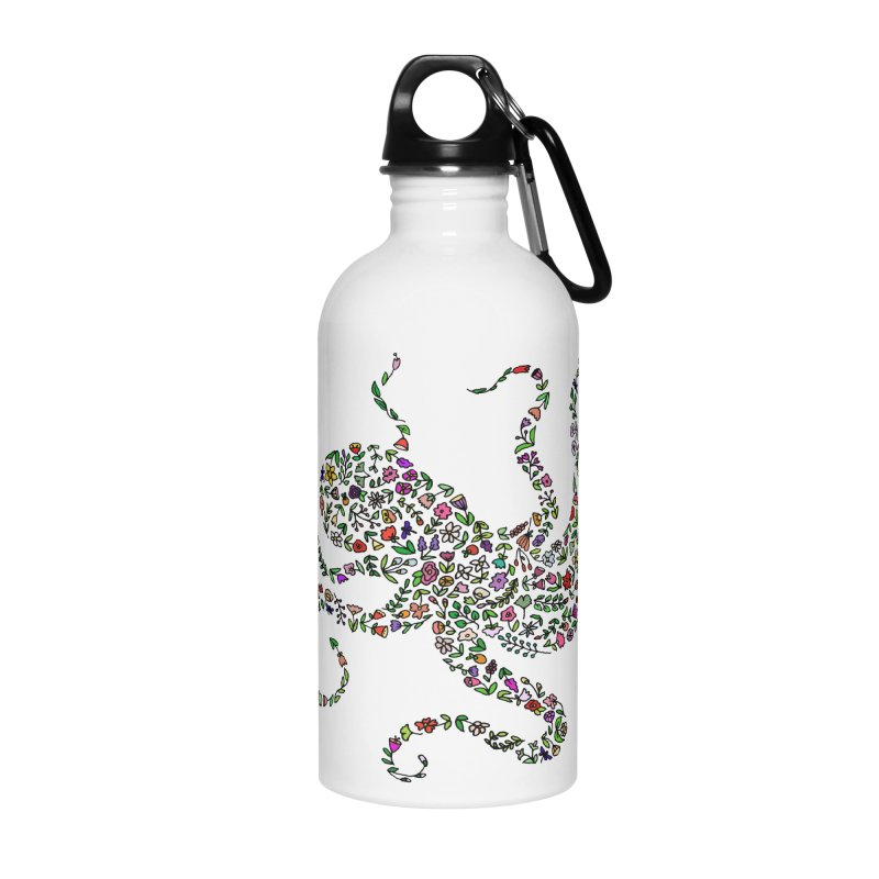 Floral Octopus Accessories Water Bottle by LadyBaigStudio's Artist Shop