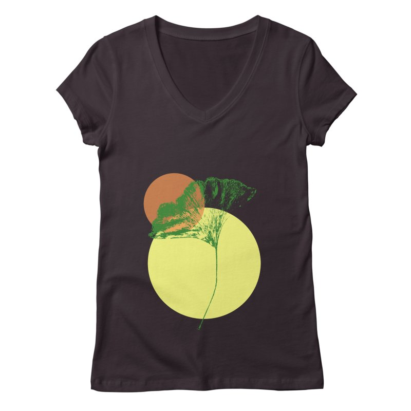 Ginkgo Leaf #3 Women's V-Neck by LadyBaigStudio's Artist Shop