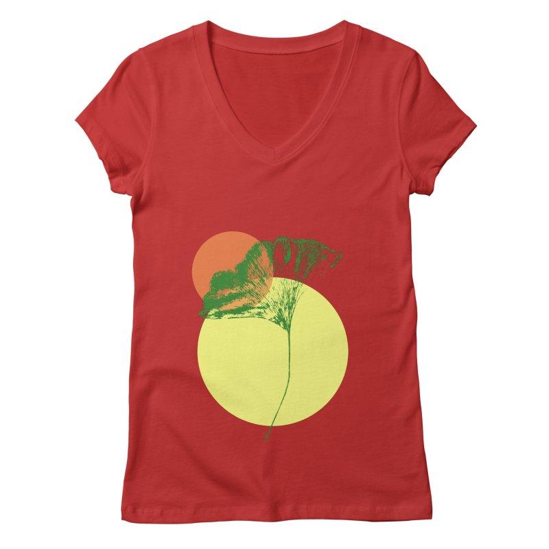 Ginkgo Leaf #3 Women's Regular V-Neck by LadyBaigStudio's Artist Shop