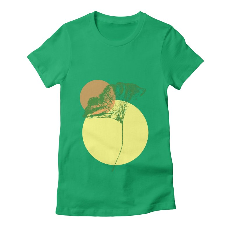 Ginkgo Leaf #3 Women's Fitted T-Shirt by LadyBaigStudio's Artist Shop