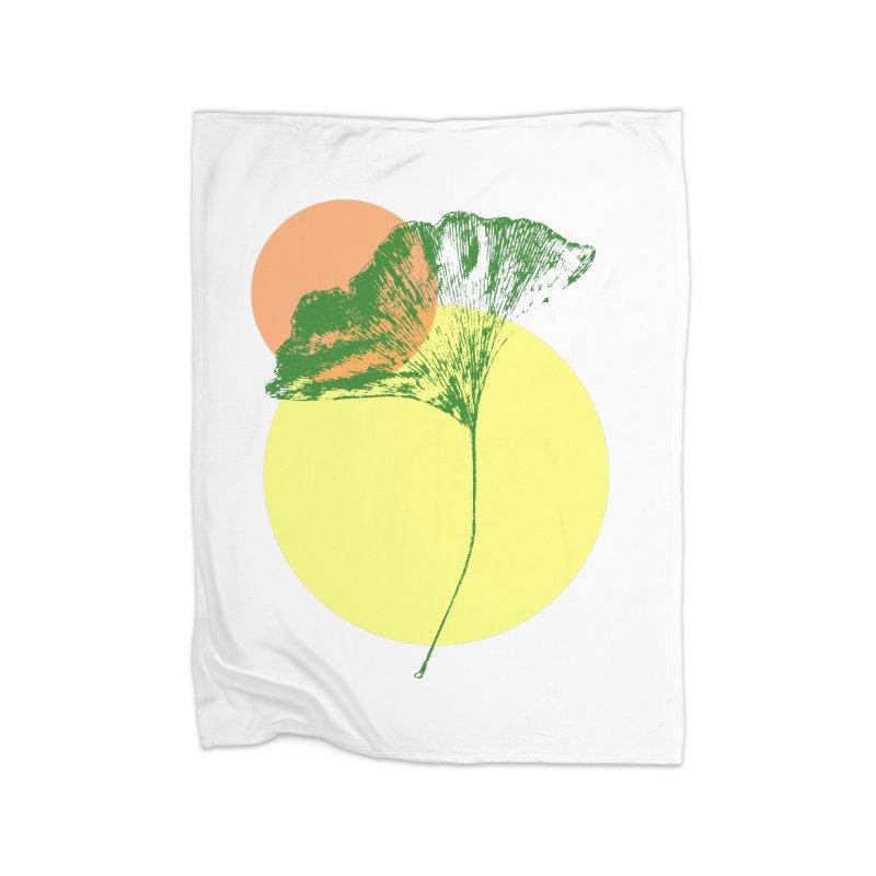 Ginkgo Leaf #3 Home Fleece Blanket Blanket by LadyBaigStudio's Artist Shop