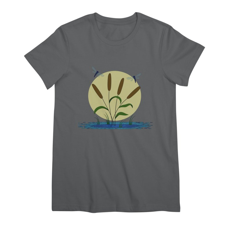 Cattails and Dragonflies Women's Premium T-Shirt by LadyBaigStudio's Artist Shop