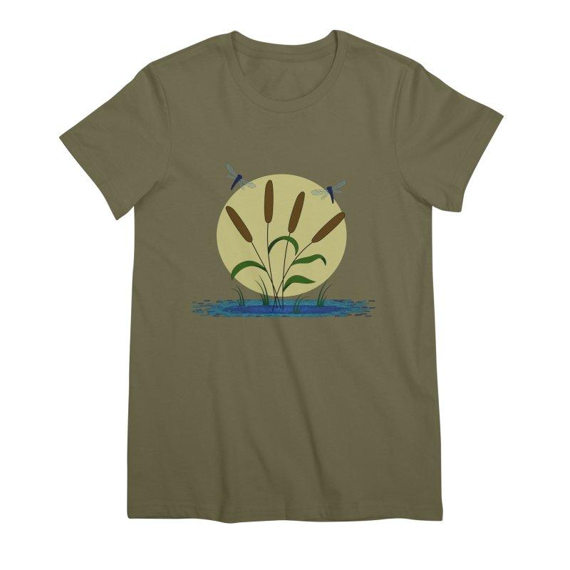 Cattails and Dragonflies Women's Premium T-Shirt by LadyBaigStudio's Artist Shop