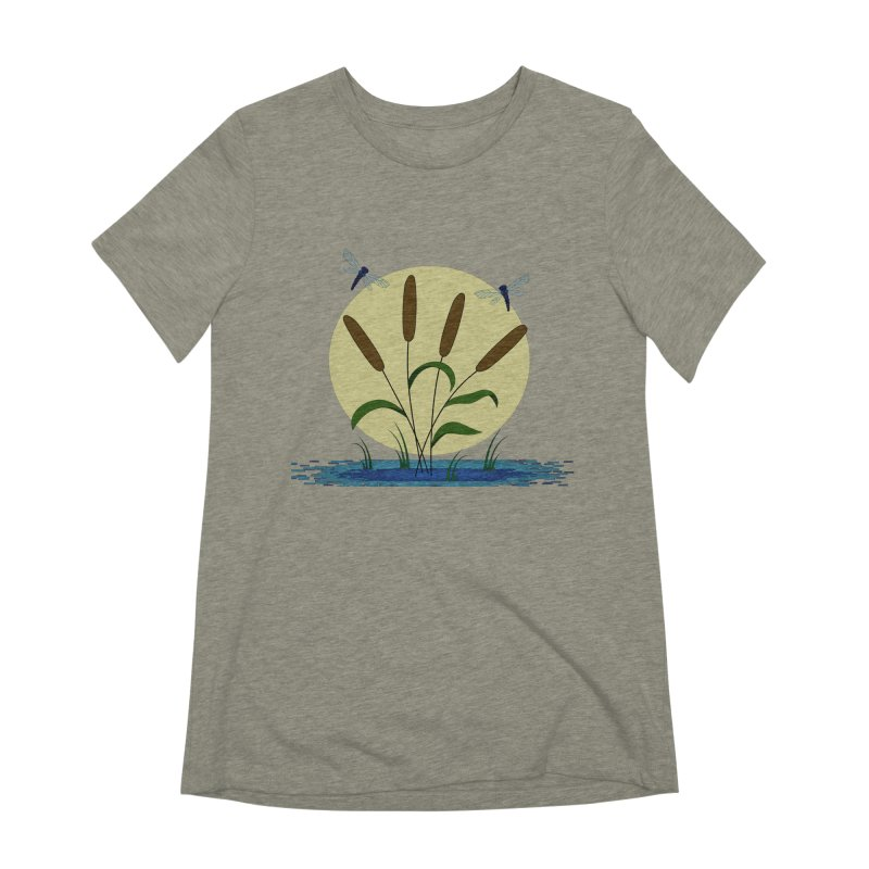 Cattails and Dragonflies Women's Extra Soft T-Shirt by LadyBaigStudio's Artist Shop