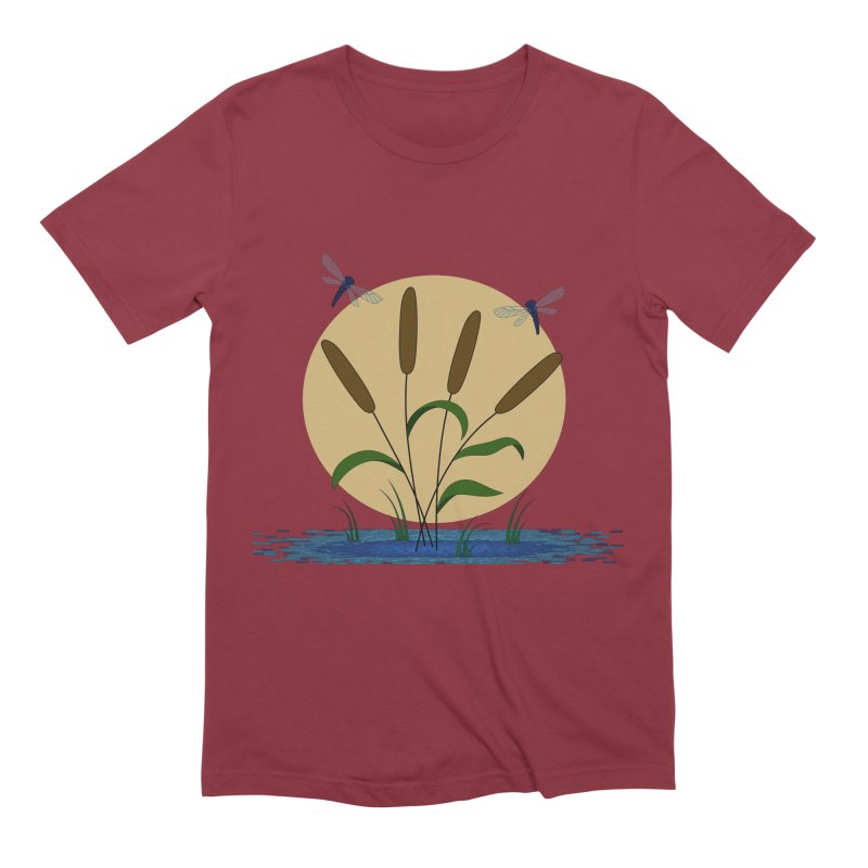 Cattails and Dragonflies Men's T-Shirt by LadyBaigStudio's Artist Shop