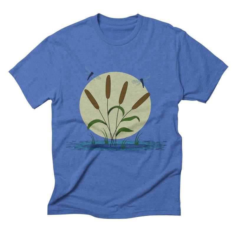 Cattails and Dragonflies Men's T-Shirt by LadyBaigStudio's Artist Shop