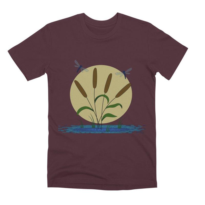 Cattails and Dragonflies Men's Premium T-Shirt by LadyBaigStudio's Artist Shop