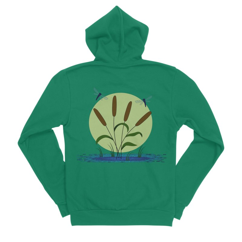Cattails and Dragonflies Women's Sponge Fleece Zip-Up Hoody by LadyBaigStudio's Artist Shop