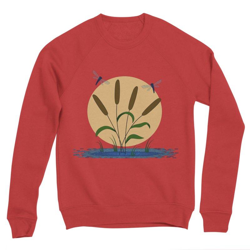 Cattails and Dragonflies Men's Sponge Fleece Sweatshirt by LadyBaigStudio's Artist Shop