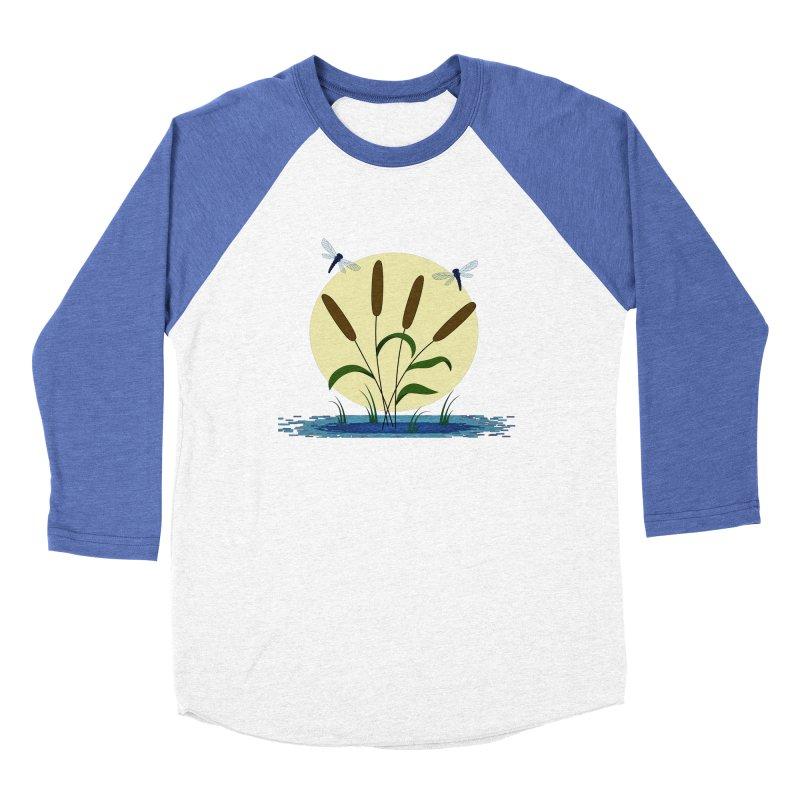 Cattails and Dragonflies Women's Baseball Triblend Longsleeve T-Shirt by LadyBaigStudio's Artist Shop