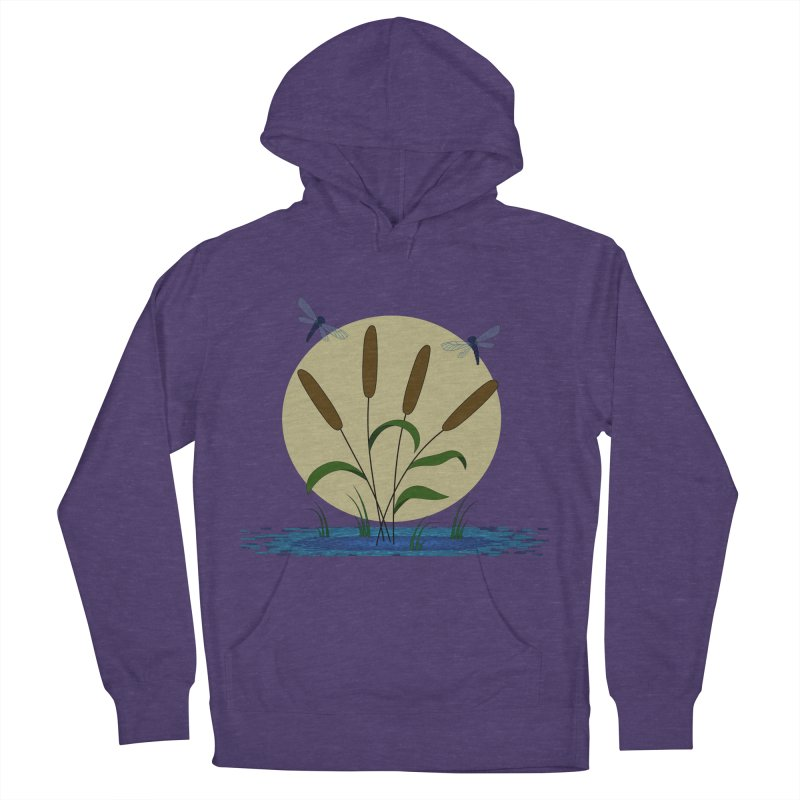 Cattails and Dragonflies Women's French Terry Pullover Hoody by LadyBaigStudio's Artist Shop