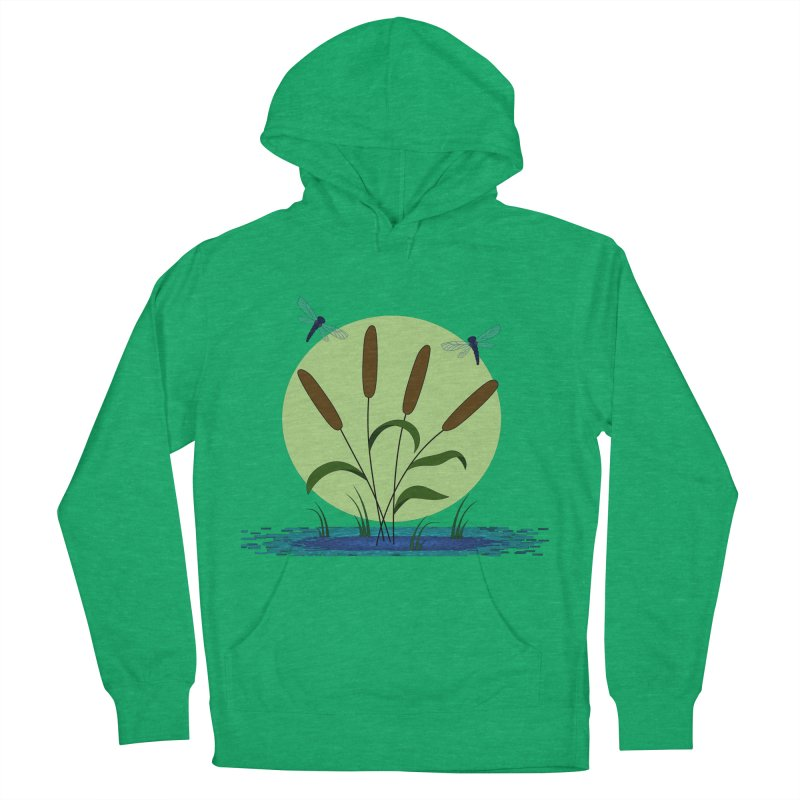 Cattails and Dragonflies Men's French Terry Pullover Hoody by LadyBaigStudio's Artist Shop
