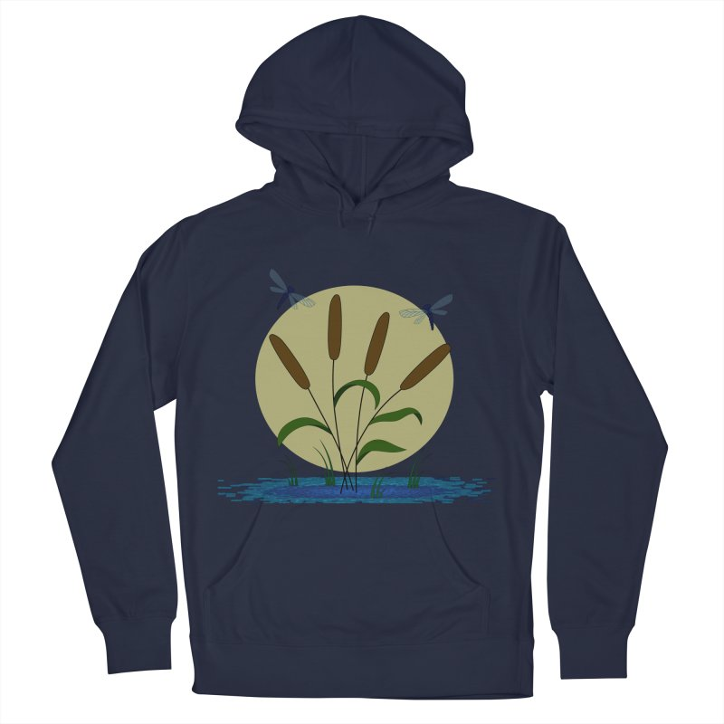 Cattails and Dragonflies Men's Pullover Hoody by LadyBaigStudio's Artist Shop
