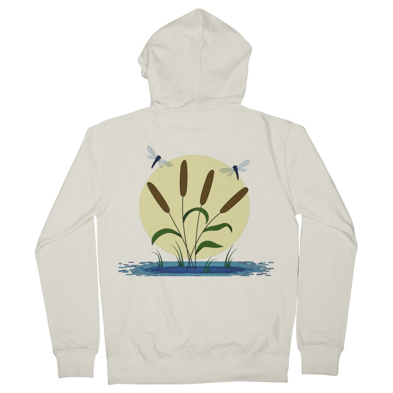 Cattails and Dragonflies Women's French Terry Zip-Up Hoody by LadyBaigStudio's Artist Shop