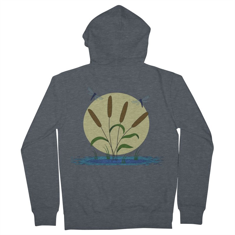 Cattails and Dragonflies Men's French Terry Zip-Up Hoody by LadyBaigStudio's Artist Shop