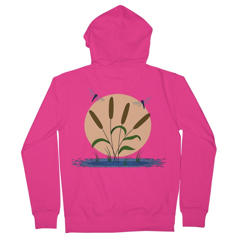 Cattails and Dragonflies Men's Zip-Up Hoody by LadyBaigStudio's Artist Shop