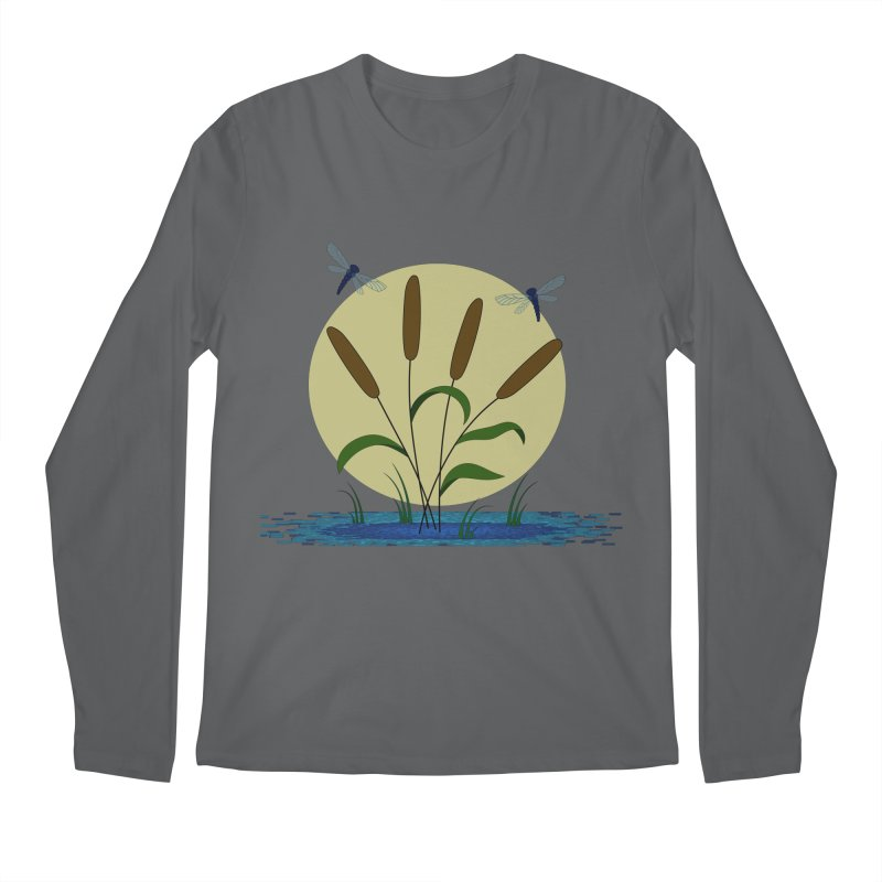 Cattails and Dragonflies Men's Longsleeve T-Shirt by LadyBaigStudio's Artist Shop