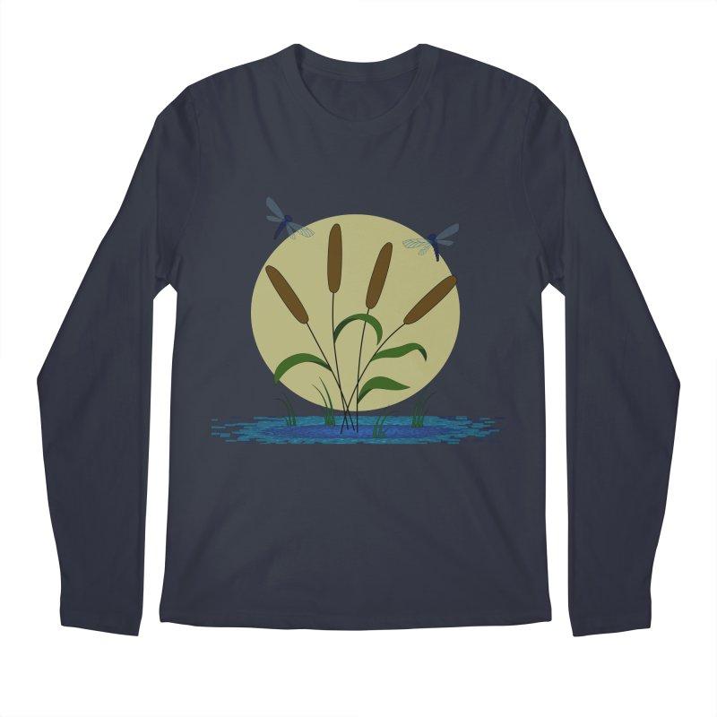 Cattails and Dragonflies Men's Regular Longsleeve T-Shirt by LadyBaigStudio's Artist Shop