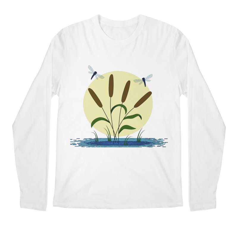 Cattails and Dragonflies Men's Regular Longsleeve T-Shirt by LadyBaigStudio's Artist Shop