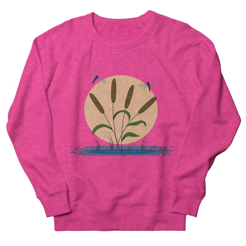 Cattails and Dragonflies Women's French Terry Sweatshirt by LadyBaigStudio's Artist Shop