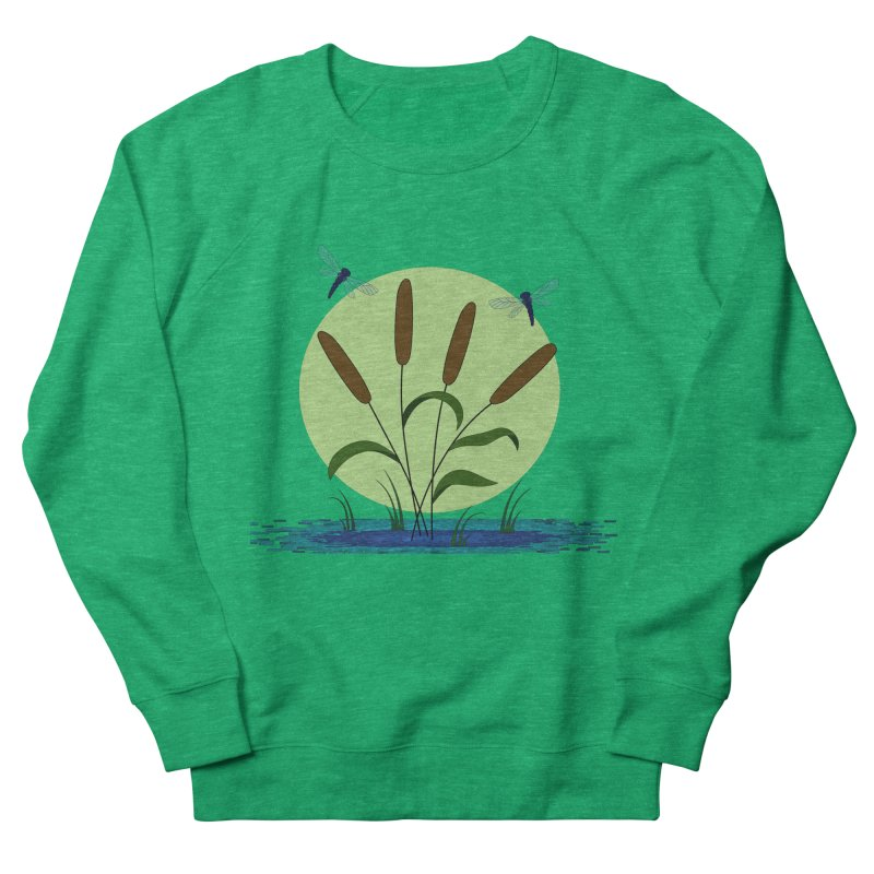 Cattails and Dragonflies Men's French Terry Sweatshirt by LadyBaigStudio's Artist Shop