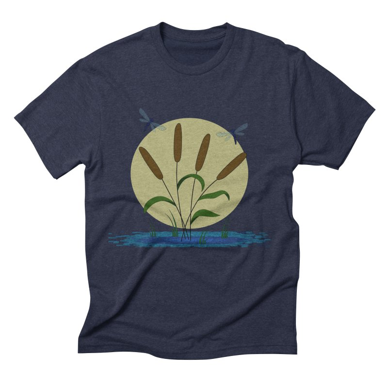 Cattails and Dragonflies Men's Triblend T-Shirt by LadyBaigStudio's Artist Shop