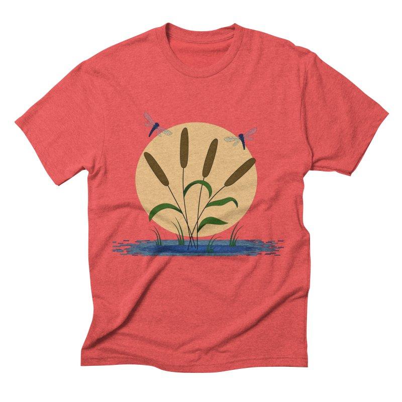Cattails and Dragonflies Men's Triblend T-Shirt by LadyBaigStudio's Artist Shop