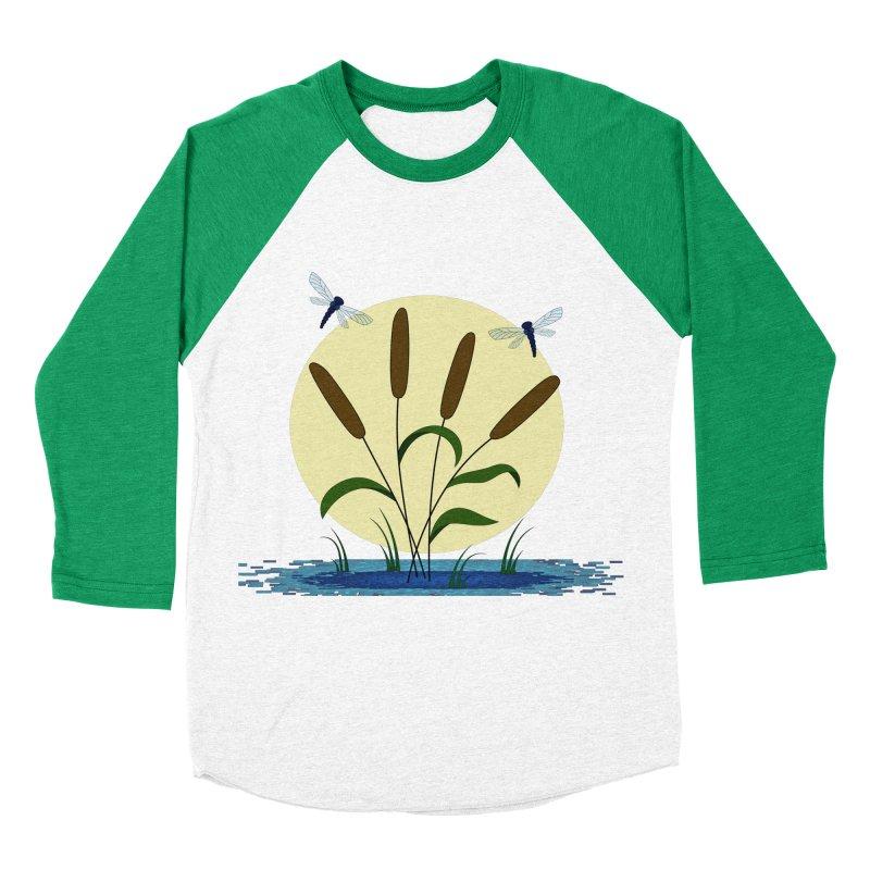 Cattails and Dragonflies Men's Baseball Triblend Longsleeve T-Shirt by LadyBaigStudio's Artist Shop