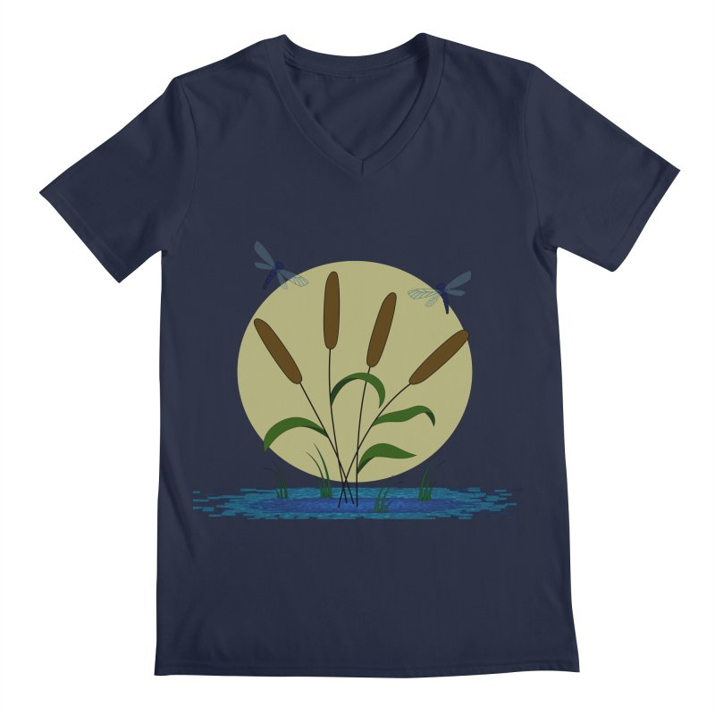 Cattails and Dragonflies Men's V-Neck by LadyBaigStudio's Artist Shop