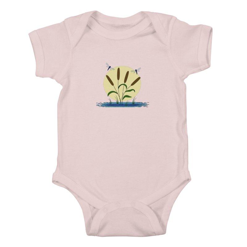 Cattails and Dragonflies Kids Baby Bodysuit by LadyBaigStudio's Artist Shop
