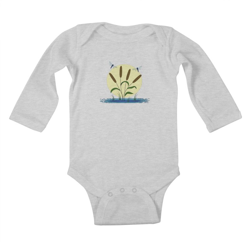 Cattails and Dragonflies Kids Baby Longsleeve Bodysuit by LadyBaigStudio's Artist Shop