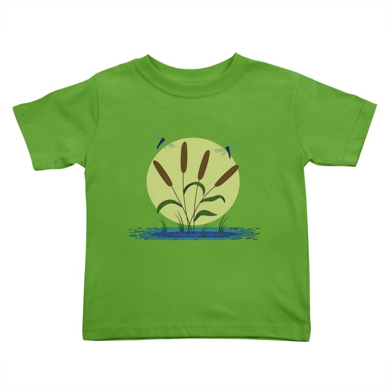 Cattails and Dragonflies Kids Toddler T-Shirt by LadyBaigStudio's Artist Shop