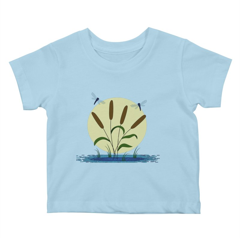 Cattails and Dragonflies Kids Baby T-Shirt by LadyBaigStudio's Artist Shop
