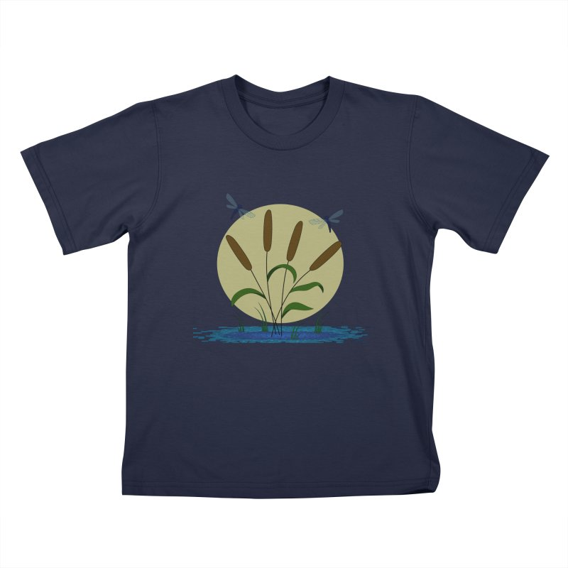 Cattails and Dragonflies Kids T-Shirt by LadyBaigStudio's Artist Shop