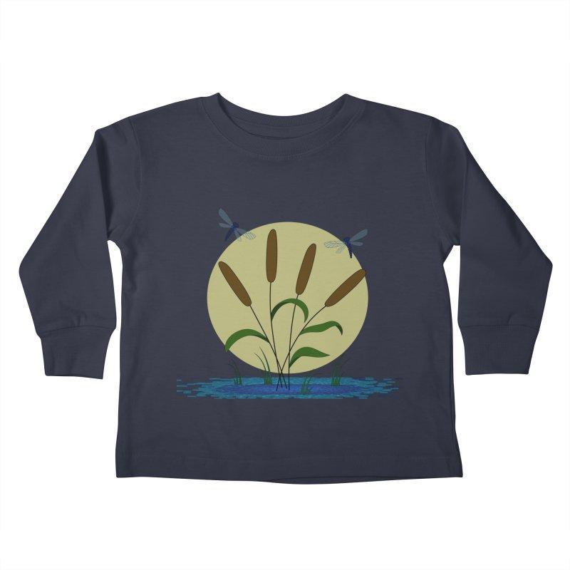 Cattails and Dragonflies Kids Toddler Longsleeve T-Shirt by LadyBaigStudio's Artist Shop