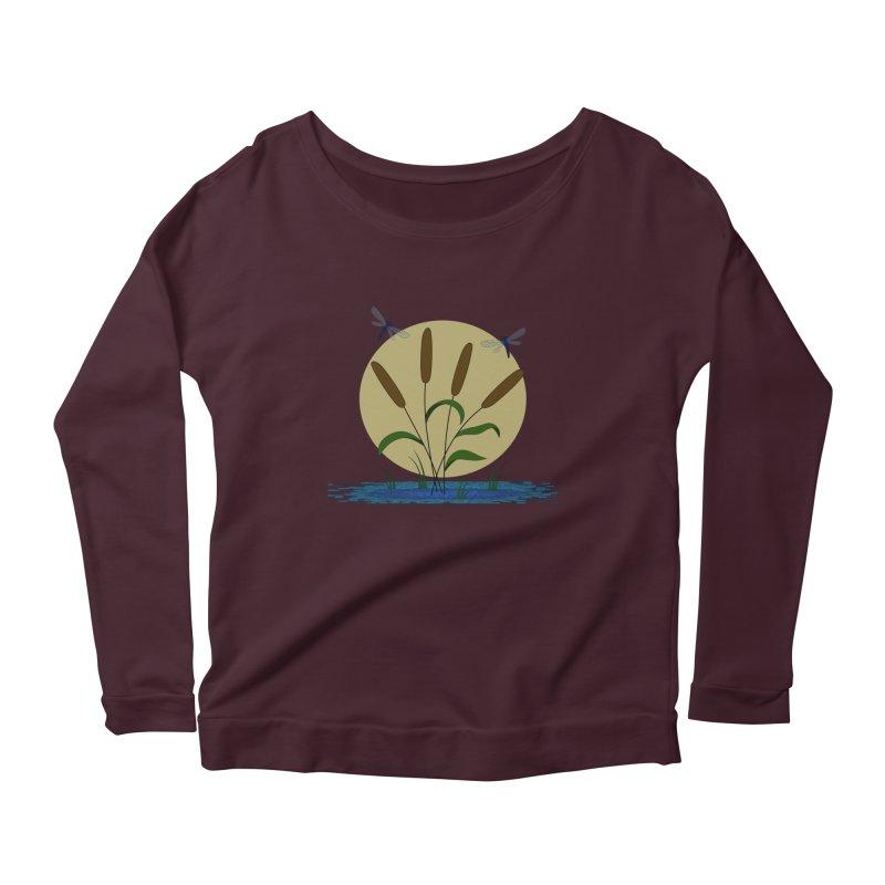 Cattails and Dragonflies Women's Scoop Neck Longsleeve T-Shirt by LadyBaigStudio's Artist Shop