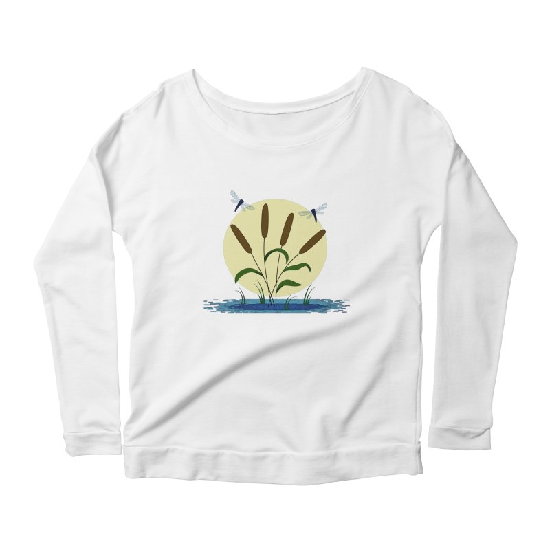 Cattails and Dragonflies Women's Scoop Neck Longsleeve T-Shirt by LadyBaigStudio's Artist Shop