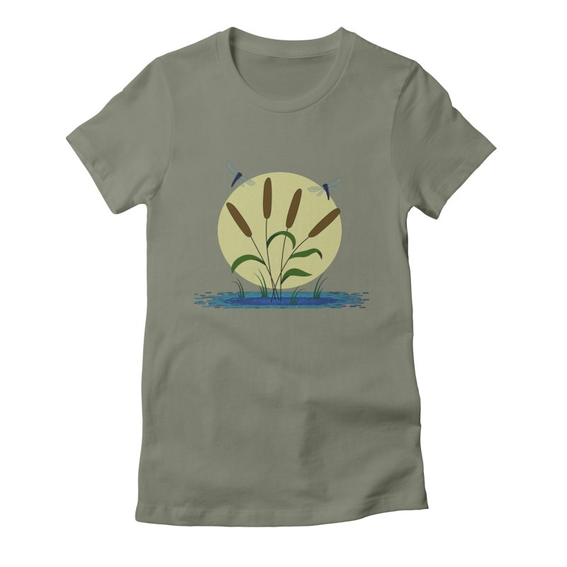 Cattails and Dragonflies Women's T-Shirt by LadyBaigStudio's Artist Shop