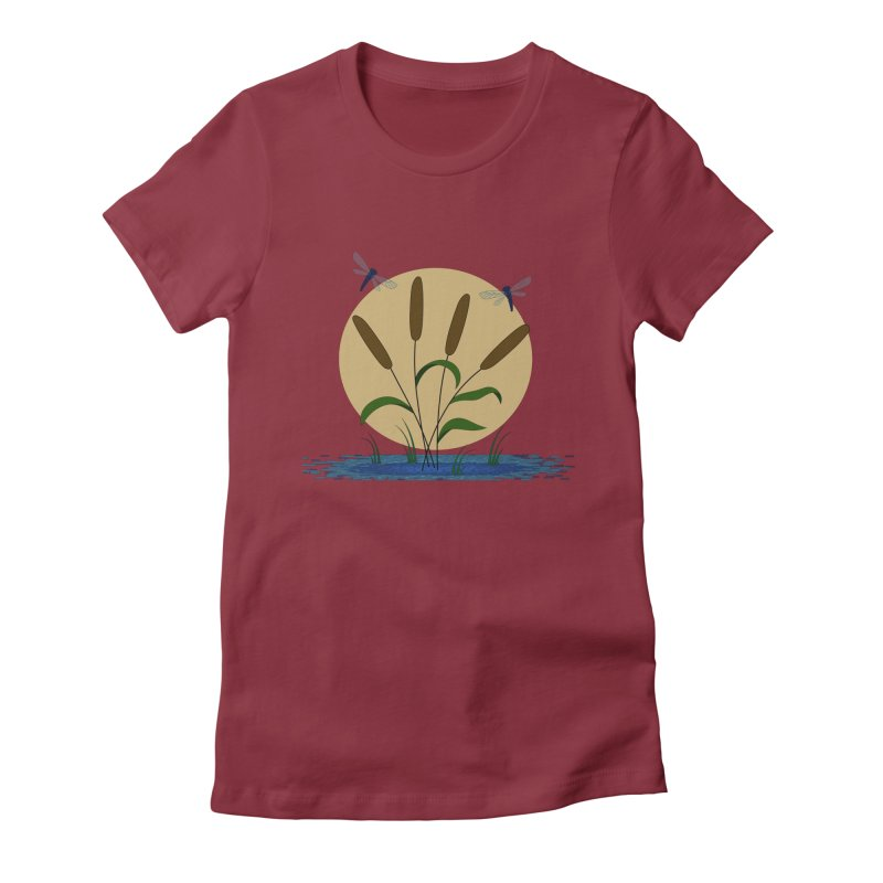 Cattails and Dragonflies Women's Fitted T-Shirt by LadyBaigStudio's Artist Shop