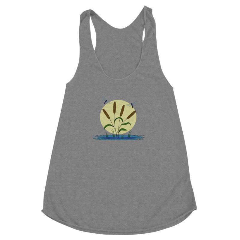 Cattails and Dragonflies Women's Racerback Triblend Tank by LadyBaigStudio's Artist Shop