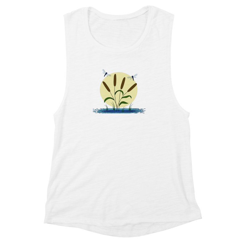 Cattails and Dragonflies Women's Muscle Tank by LadyBaigStudio's Artist Shop