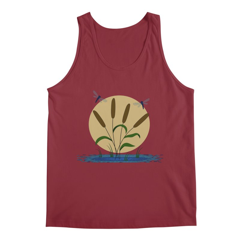 Cattails and Dragonflies Men's Tank by LadyBaigStudio's Artist Shop