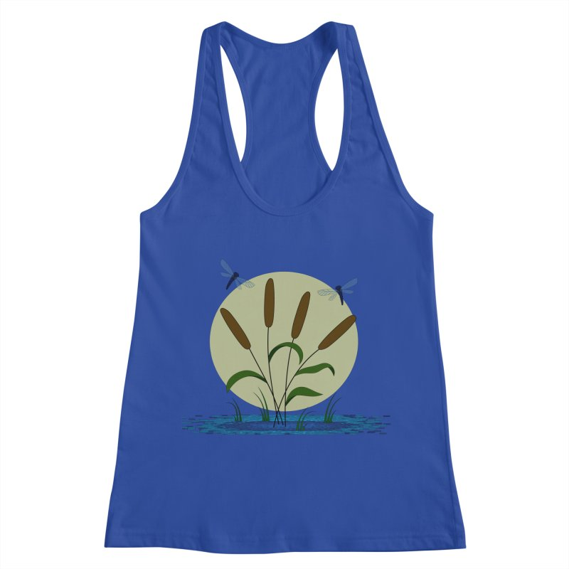 Cattails and Dragonflies Women's Racerback Tank by LadyBaigStudio's Artist Shop