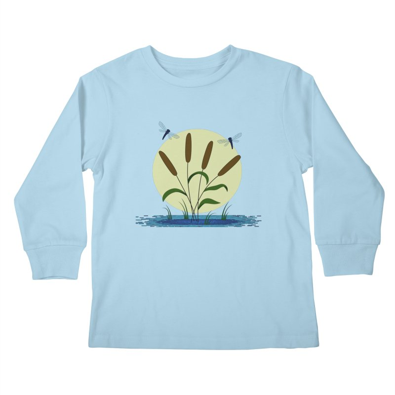 Cattails and Dragonflies Kids Longsleeve T-Shirt by LadyBaigStudio's Artist Shop